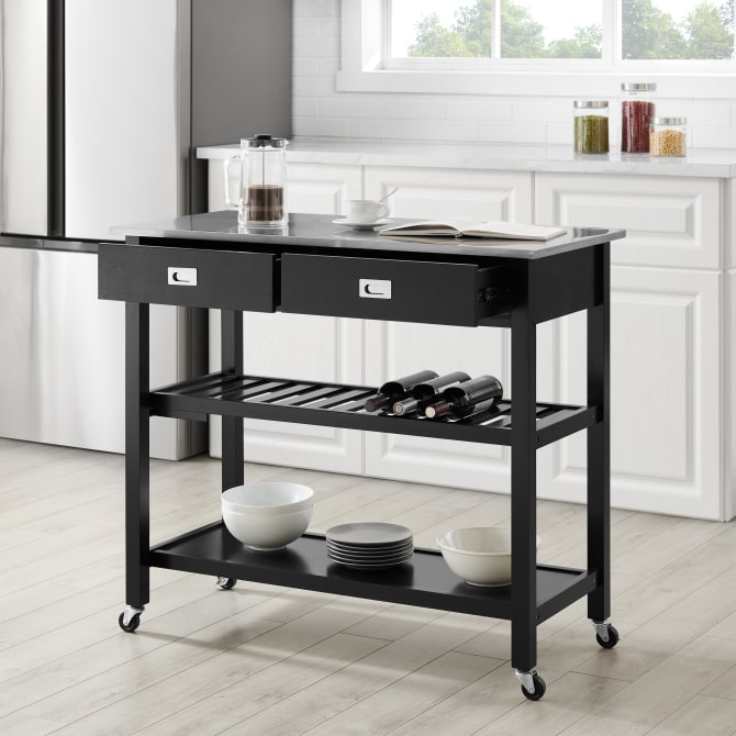 CHLOE STAINLESS STEEL TOP KITCHEN ISLAND/CART