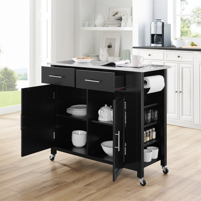 SAVANNAH STAINLESS STEEL TOP FULL-SIZE KITCHEN ISLAND/CART
