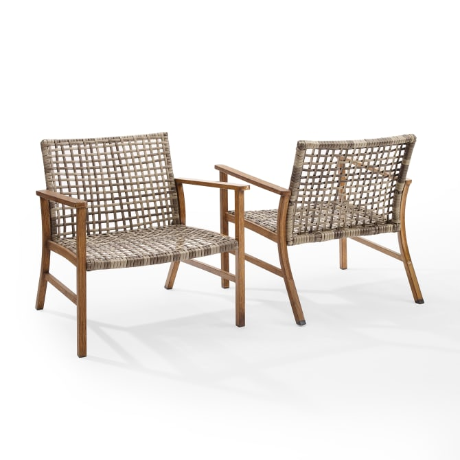 RIDLEY 2PC OUTDOOR WICKER AND METAL ARMCHAIR SET