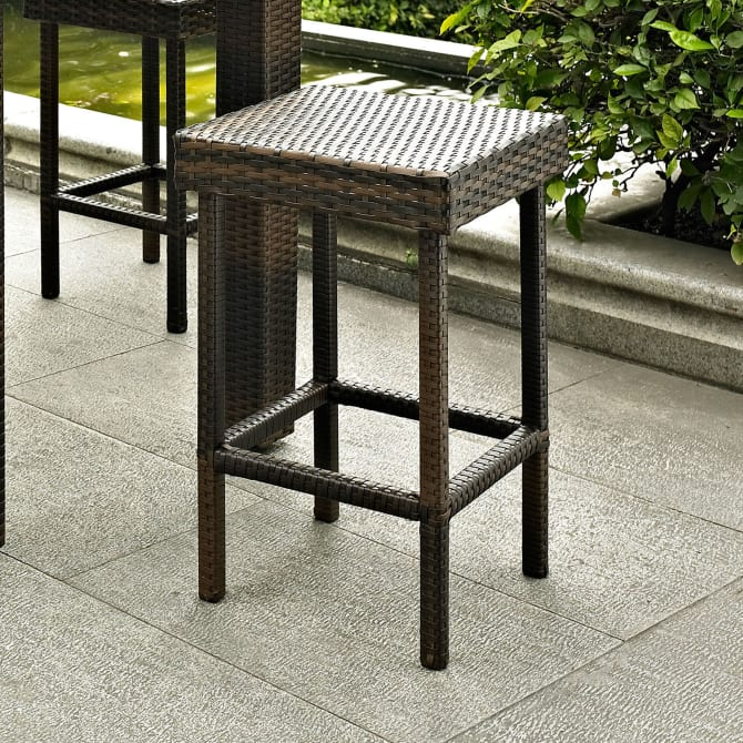 PALM HARBOR 2PC OUTDOOR WICKER COUNTER HEIGHT BAR STOOL SET