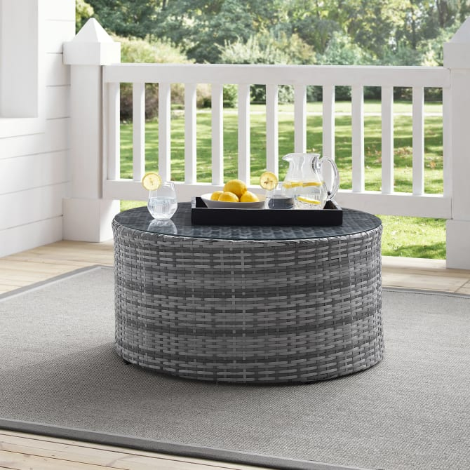 CATALINA OUTDOOR WICKER ROUND COFFEE TABLE