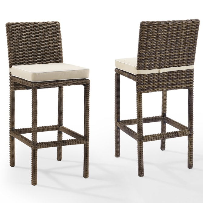 BRADENTON 2PC OUTDOOR WICKER BAR HEIGHT BAR STOOL SET