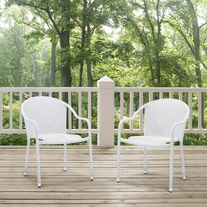 PALM HARBOR 2PC OUTDOOR WICKER STACKABLE CHAIR SET
