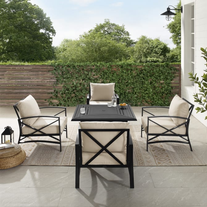 KAPLAN 5PC OUTDOOR CONVERSATION SET W/FIRE TABLE