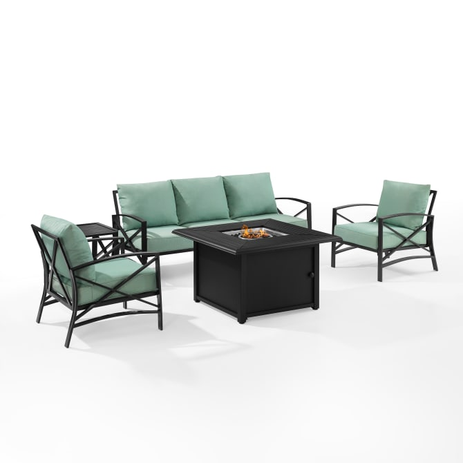 KAPLAN 5PC OUTDOOR SOFA SET W/FIRE TABLE