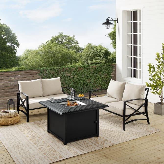 KAPLAN 3PC OUTDOOR CONVERSATION SET W/FIRE TABLE