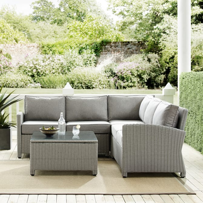 BRADENTON 4PC OUTDOOR WICKER SECTIONAL SET