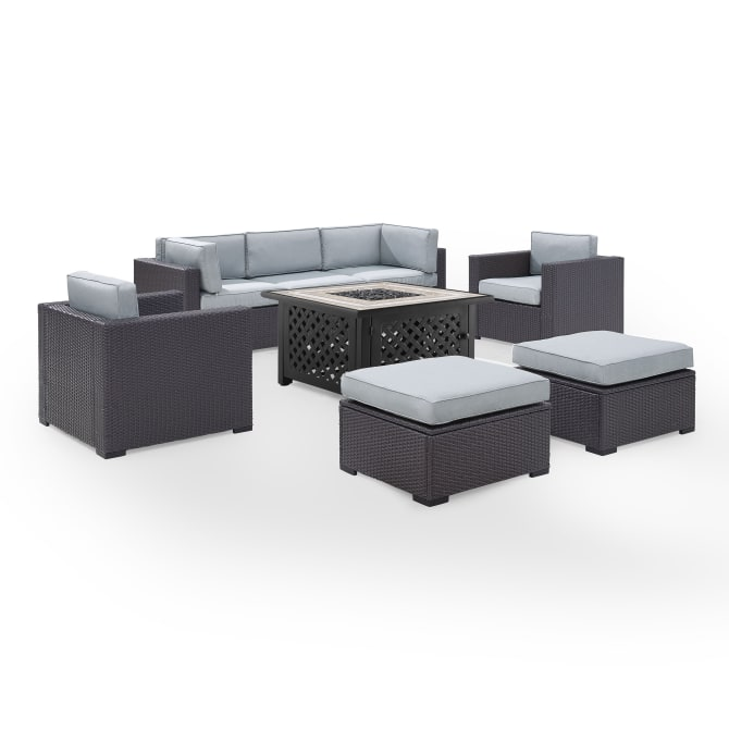 BISCAYNE 7PC OUTDOOR WICKER SECTIONAL SET W/FIRE TABLE