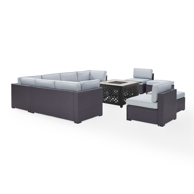 BISCAYNE 8PC OUTDOOR WICKER SECTIONAL SET W/FIRE TABLE
