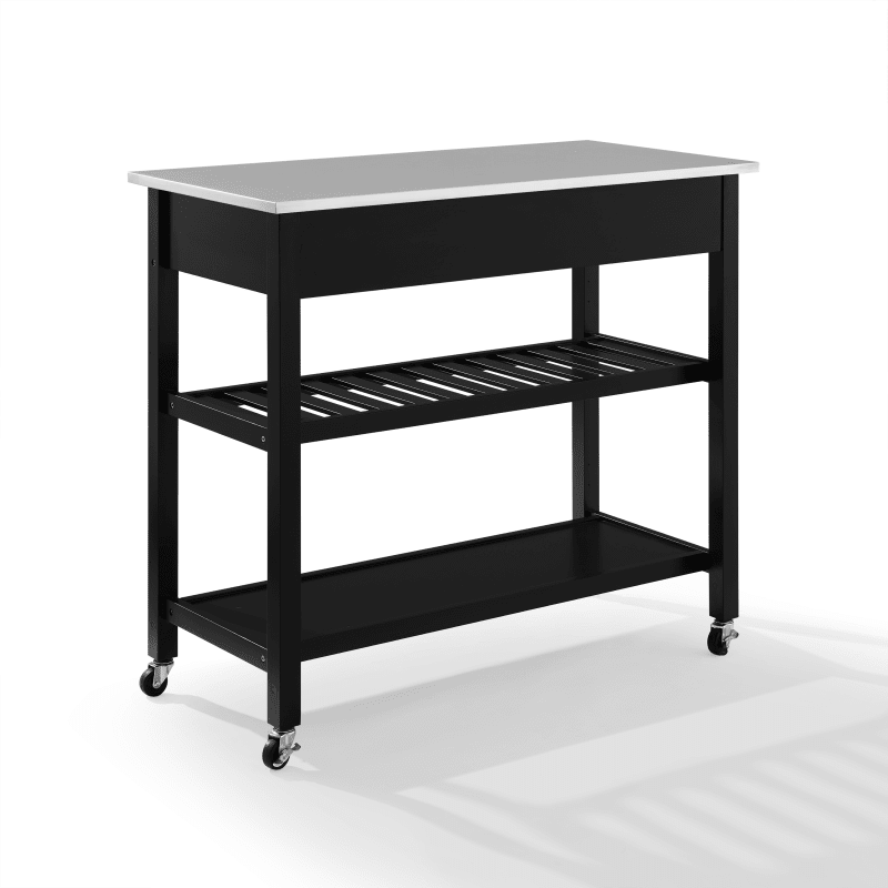 Black SJ Collection Claudine Mobile Kitchen Cart with Stainless Steel Countertop