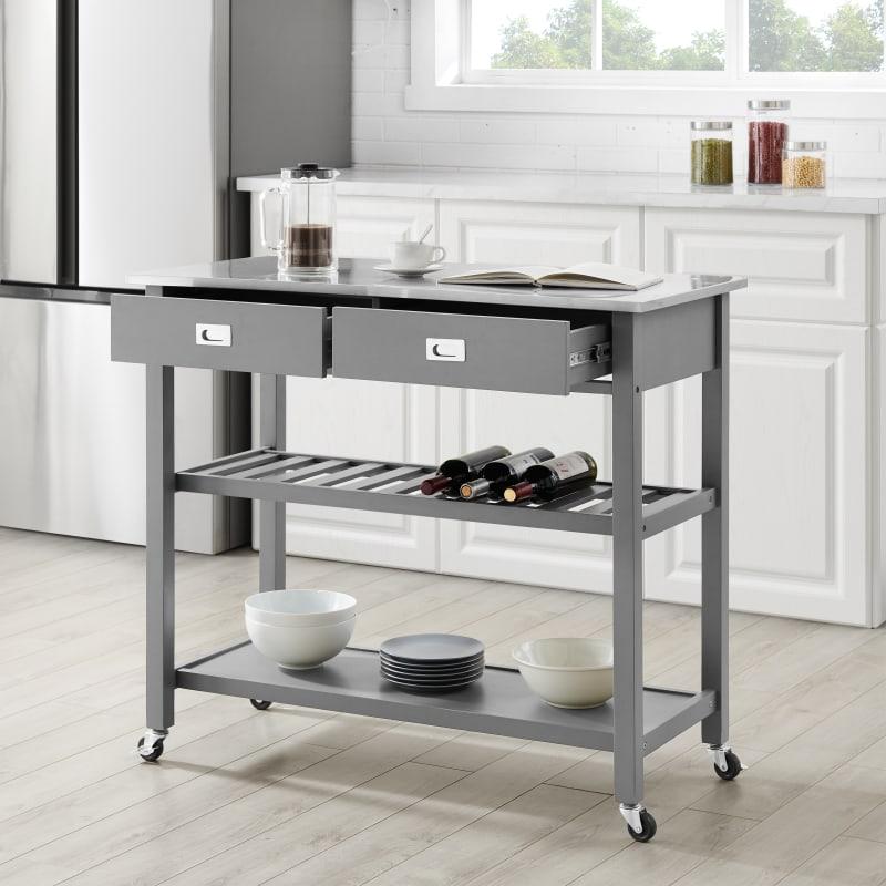 Crosley Furniture Chloe Stainless Steel Top Kitchen Island Cart