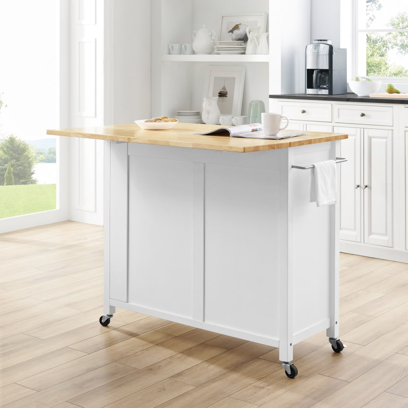 Crosley Furniture Savannah Wood Top Drop Leaf Kitchen Island Cart