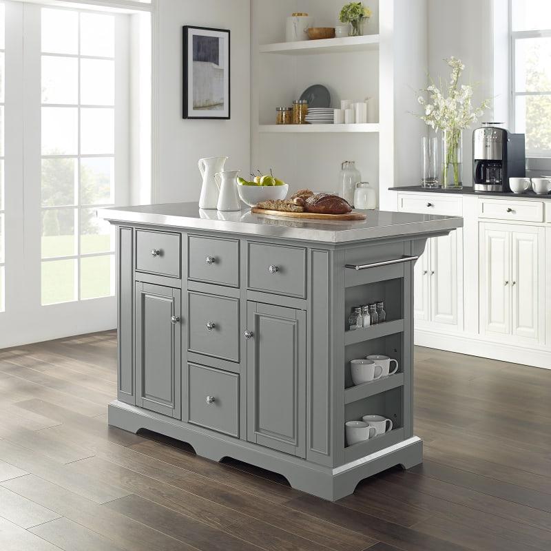 Crosley Furniture Julia Stainless Steel Top Kitchen Island